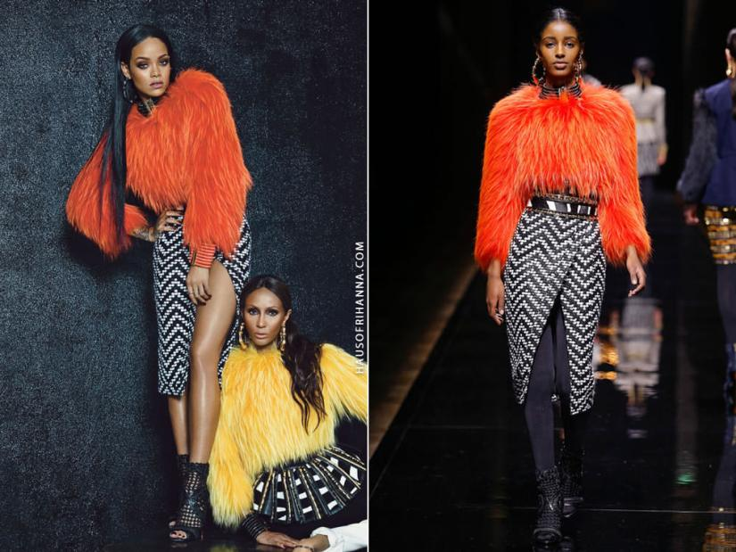Rihanna in W Magazine September 2014 wearing Balmain Fall 2014 orange fur top and black and white skirt