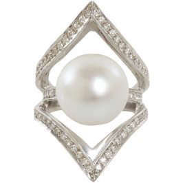 Ana Khouri pearl and diamond white gold ring as seen on Rihanna