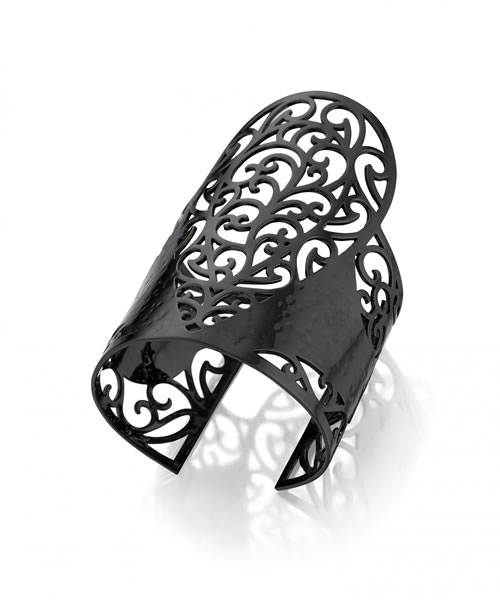 Lynn Ban wrought iron cuff in black rhodium from the Arabesque collection