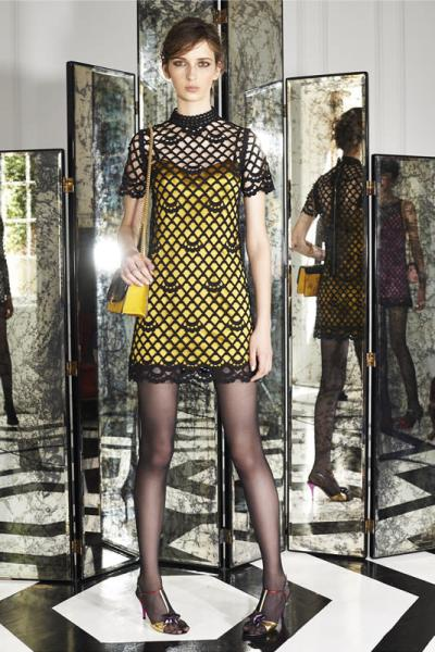 Marc Jacobs Resort 2015 yellow tank dress with black overlay