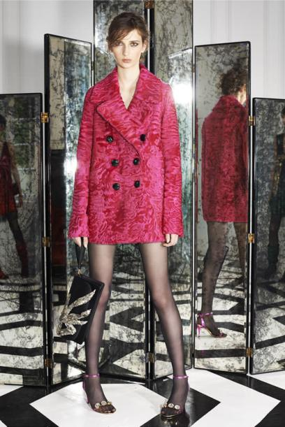 Marc Jacobs Resort 2015 pink Astrakhan fur double-breasted jacket