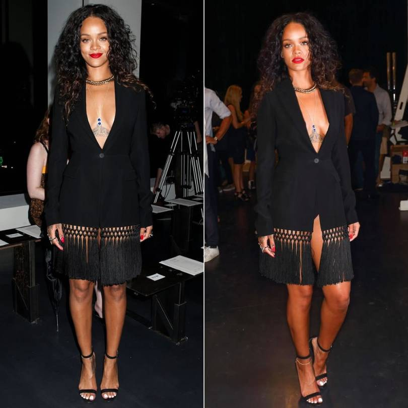 Rihanna at Altuzarra Spring 2015 fashion show wearing Altuzarra Resort 2015 black fringe jacket as a dress, Manolo Blahnik Chaos black suede ankle-strap sandals, Lynn Ban yellow gold chevron rings and Reverso ring, Jacquie Aiche lapis outward trinity bodychain, Ana Khouri pearl ring
