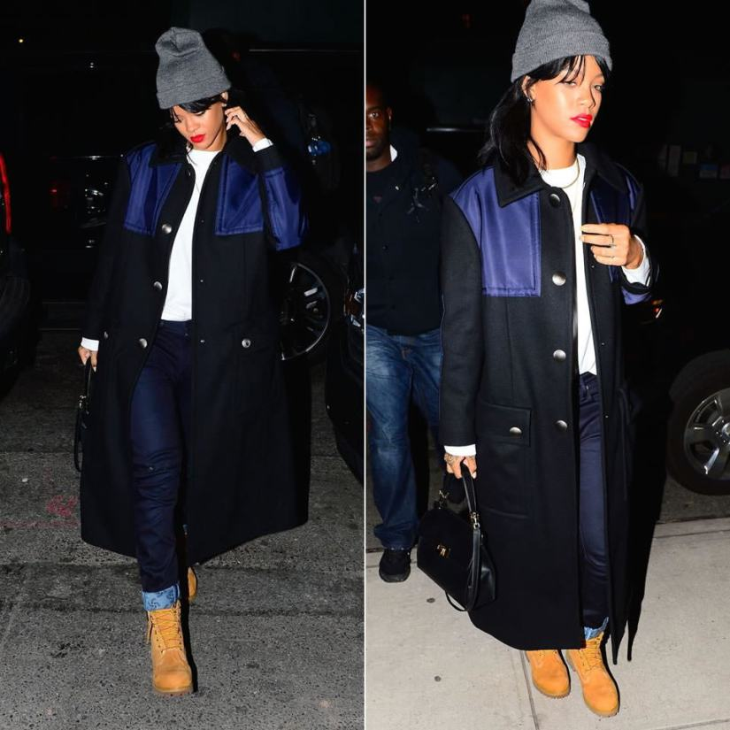 Rihanna wearing Miu Miu black wool snap button coat with blue shell detail, G-Star RAW for the Oceans by Pharrell Williams Arc 3D tapered cuffed jeans, Balenciaga Le Dix Cartable satchel handbag, Timberland wheat nubuck premium boots, Superbia dark grey s logo beanie