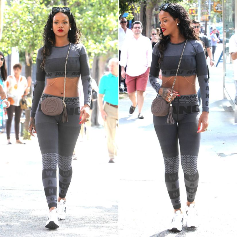 Rihanna wearing Alexander Wang for H and M grey crop top and leggings, Gucci suede nubuck Soho chain handle handbag, New Balance 574 sneakers