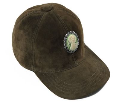 Silver Spoon Attire green suede cameo cap as seen on Rihanna