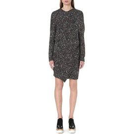 Stella McCartney chunky off set shapes knit dress in charcoal