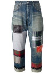 Junya Watanabe patchwork cropped jeans as seen on Rihanna