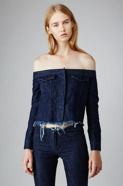 Marques'Almeida cropped denim off shoulder jacket as seen on Rihanna