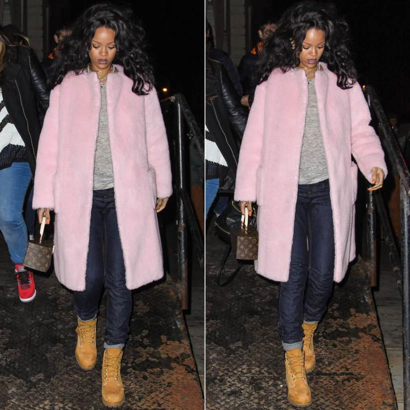 Rihanna wearing Rochas pink wool collarless coat, Rihanna for River Island cuffed boyfriend jeans, Timberland wheat nubuck premium boots, Louis Vuitton by Frank Gehry monogram twisted box bag, Inez and Vinoodh pearl necklace, Nektar de Stagni pearl choker