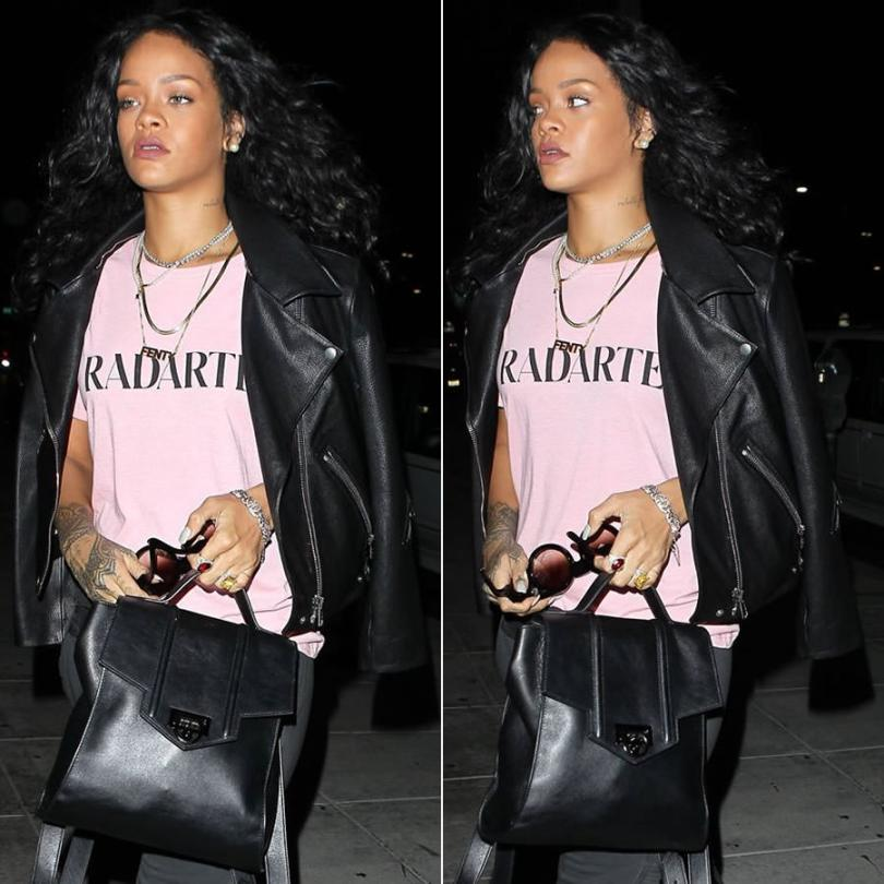 Rihanna wearing Acne Studios Rita black leather jacket, Rodarte Radarte pink t-shirt, Reece Hudson Siren leather backpack, Inez and Vinoodh pearl necklace, Ivy New York garnet and diamond ring, Wildfox Couture black Granny sunglasses