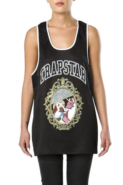 Trapstar A Basic Bitch Nightmare tank top as seen on Rihanna