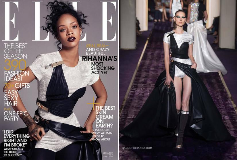 Rihanna in Elle magazine December 2014 wearing Atelier Versace Fall 2014 couture gown