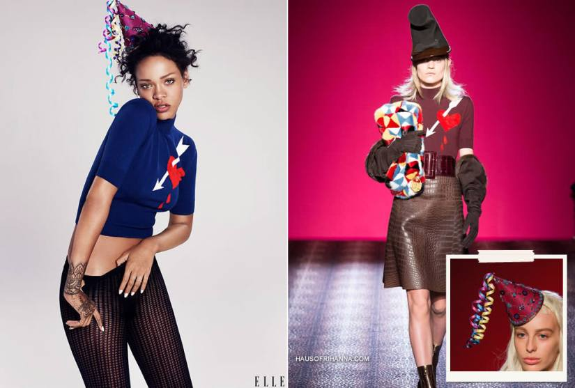 Rihanna in Elle magazine December 2014 wearing Schiaparelli Fall 2014 couture birthday hat and bleeding heart sweater, Falke tights