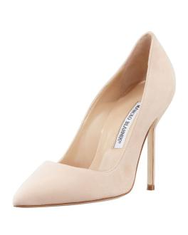 Manolo Blahnik suede BB pumps in nude as seen on Rihanna