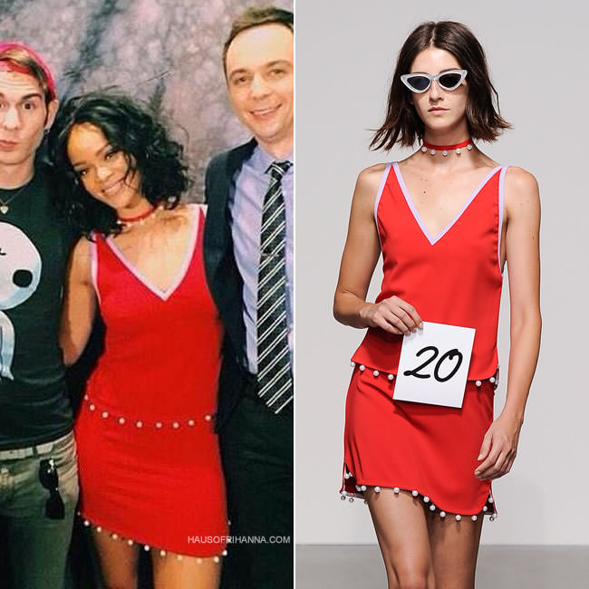 Rihanna in Adam Selman red pearl-trimmed top and mini skirt