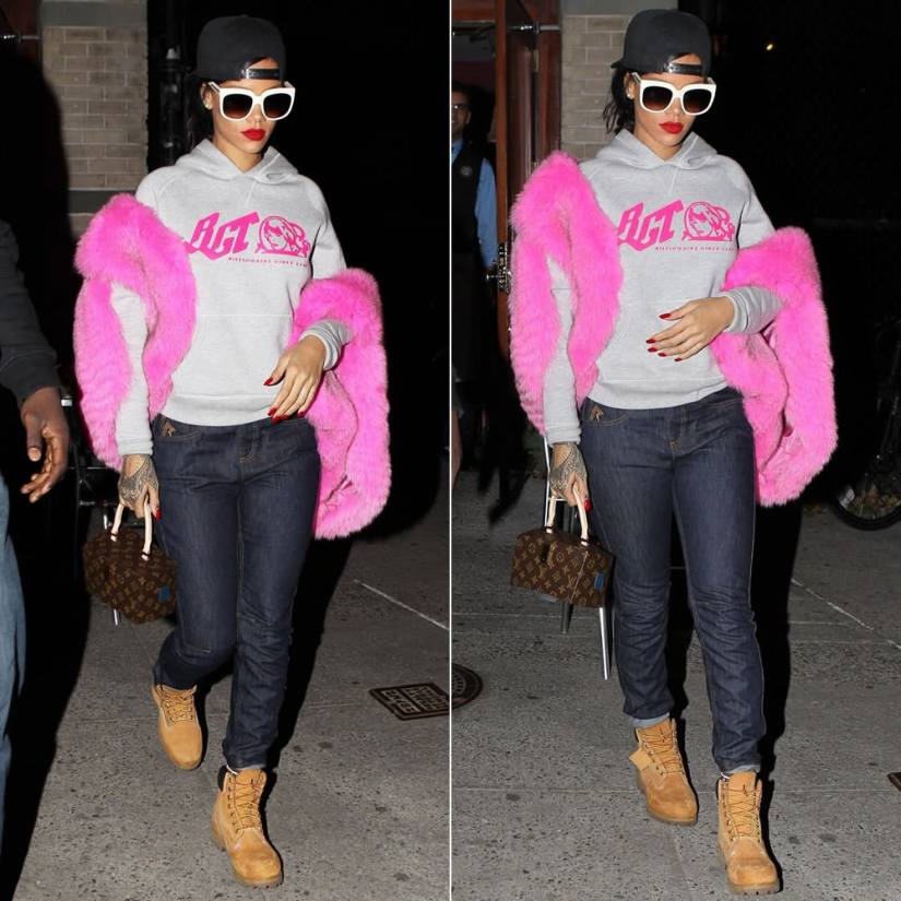 Rihanna wearing Givenchy black baseball cap, Stella McCartney cream oversized sunglasses, Billionaire Girls Club authentic pullover hoodie, Rihanna for River Island cuffed boyfriend jeans, Timberland boots