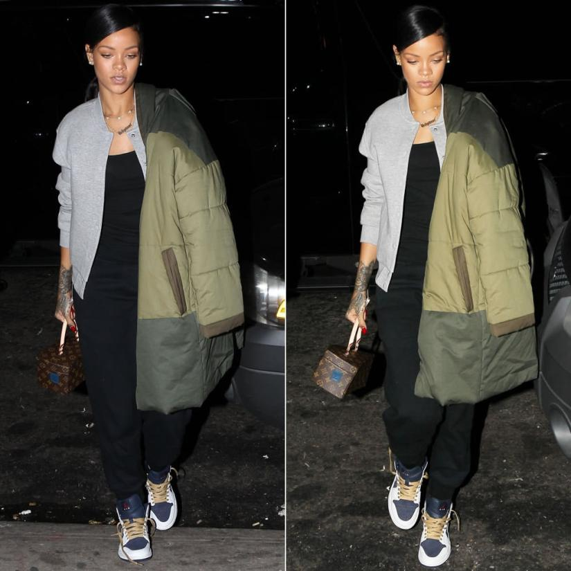Rihanna wearing Isabel Marant Etoile Floor green coat, Isabel Marant Tevy black sweatpants, T by Alexander Wang grey varsity jacket, Air Jordan 1 Phat Olympic sneakers, Louis Vuitton Twisted Box handbag