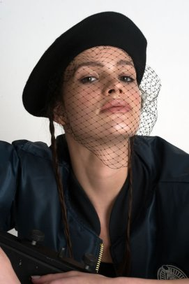 Silver Spoon Attire black beret with mesh veil as seen on Rihanna