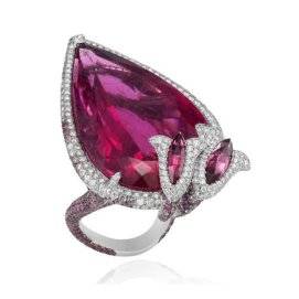 Chopard pear-shaped rubellite ring as seen on Rihanna