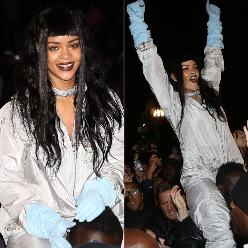 Rihanna in Paris wearing Dior Fall 2014 couture grey jumpsuit and blue gloves