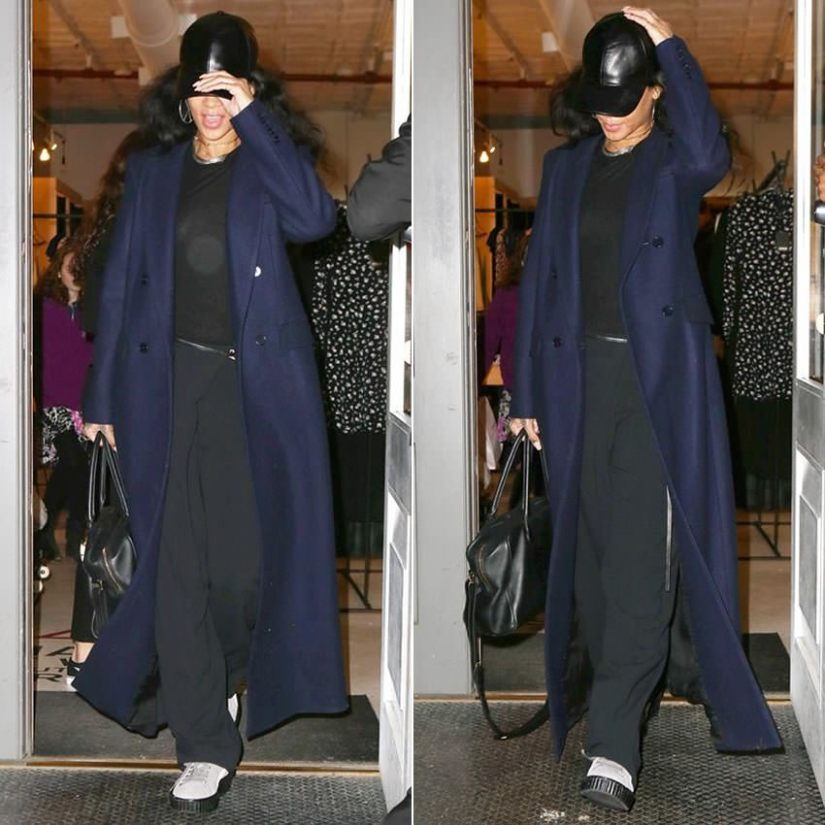 Rihanna wearing Vianel cap, Reformation Orson coat, Mr Completely Puma creepers, Melody Ehsani barbed wire choker
