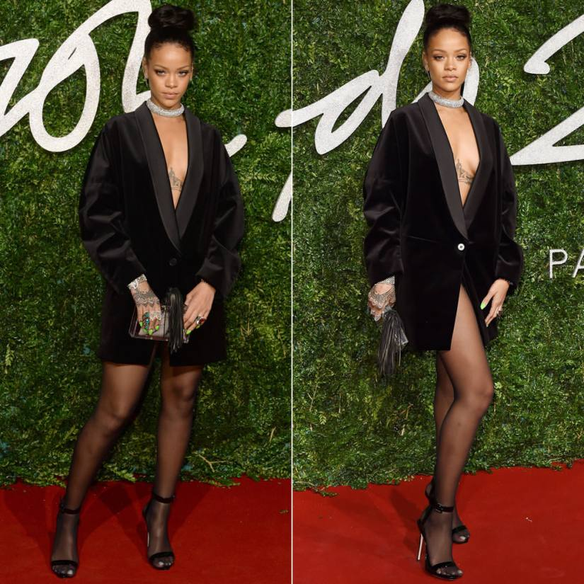 Rihanna at the British Fashion Awards wearing Stella McCartney black tuxedo dress, Giuseppe Zanotti ankle strap sandals, Charlotte Olympia Mistress Pandora box clutch, Stephen Webster Crystal Haze ring and bracelet, Hanna Martin Delirium arc ring, Sybarite Gate bracelet, Yvonne Leon diamond ear cuff