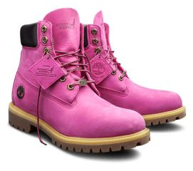 Timberland x Susan G. Komen pink men's boots as seen on Rihanna