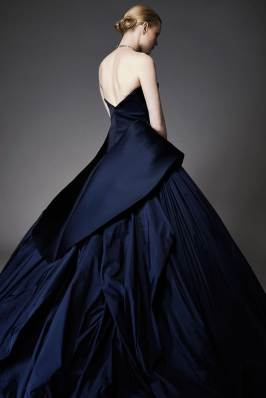Zac Posen Resort 2015 navy strapless gown as seen on Rihanna