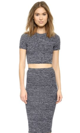 alice + olivia Solange herringbone crop top as seen on Rihanna