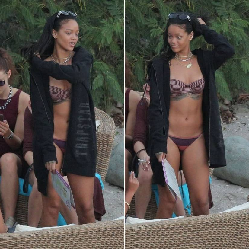 Rihanna wearing Charlie by Matthew Zink Rita bikini and Charlie Grecian Coin bikini bottoms, Trapstar heavy weight elongated black hoodie, Jean Paul Gaultier vintage sunglasses