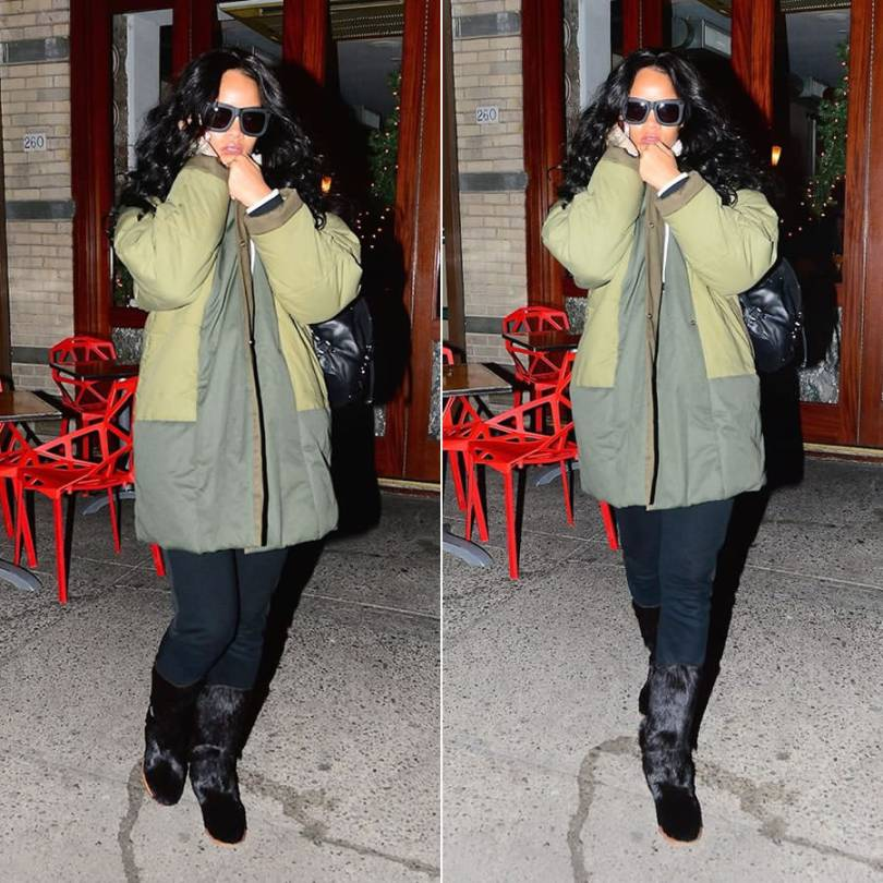 Rihanna wearing Grey Ant Status sunglasses , Isabel Marant Etoile Flor quilted coat, Diesel Karola leather backpack