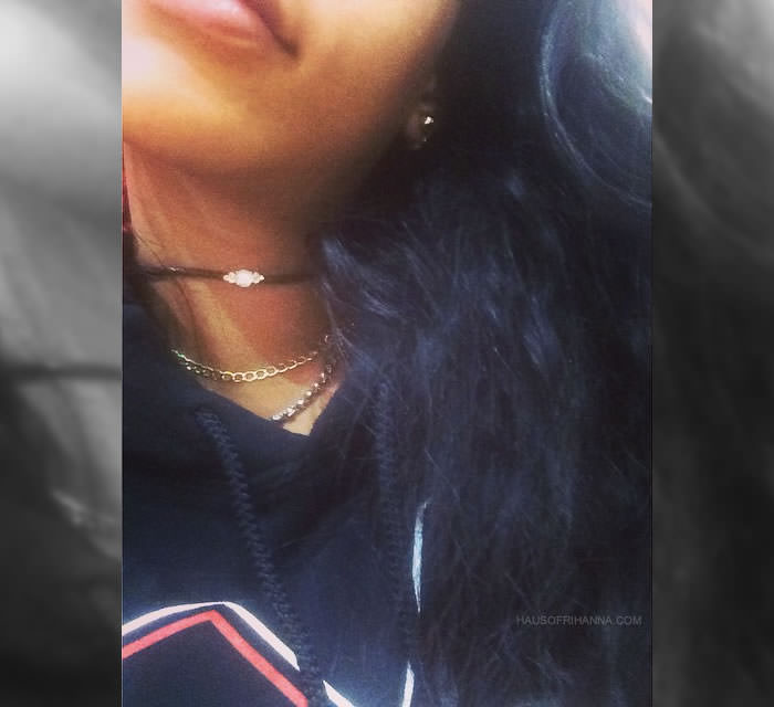 Rihanna wearing Monster Tour hoodie, Jacquie Aiche leather choker