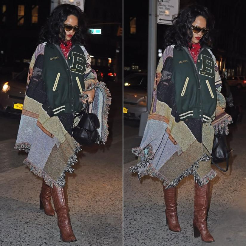 Rihanna wearing Bless letterman jacket poncho from VFILES, J Brand 835 skinny jeans and Diesel Karola leather backpack