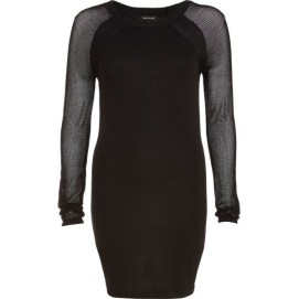 River Island black mini dress with sheer sleeves as seen on Rihanna