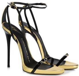 Giuseppe Zanotti gold and black ankle-strap sandals as seen on Rihanna