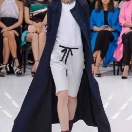 Dior Spring 2015 blue coat as seen on Rihanna