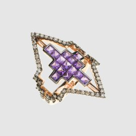 Nikos Koulis V ring with diamonds and purple stones as seen on Rihanna