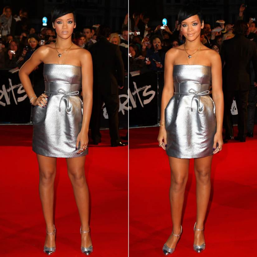 Rihanna at the 2008 Brit Awards wearing a silver Dolce & Gabbana mini dress and Christian Louboutin silver pumps