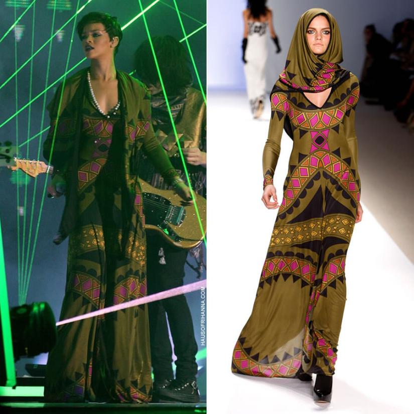 Rihanna performing at the 2008 Brit Awards in Mara Hoffman Fall/Winter 2008 green printed dress and scarf