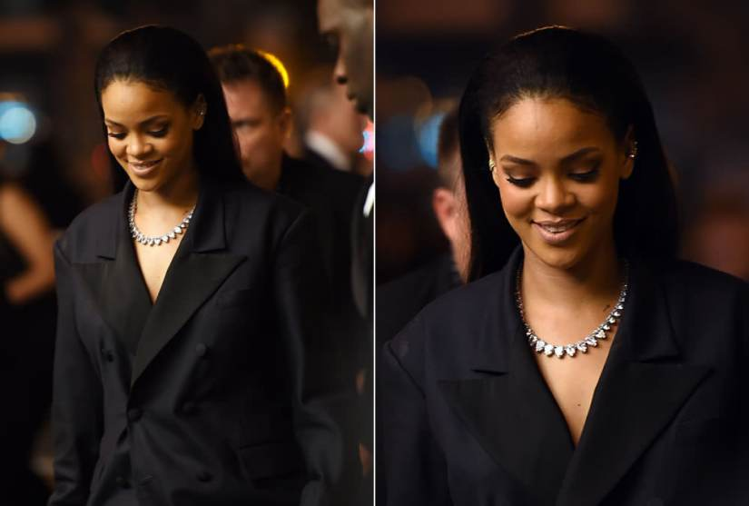 Rihanna wearing Fallon graduated pear riviere necklace