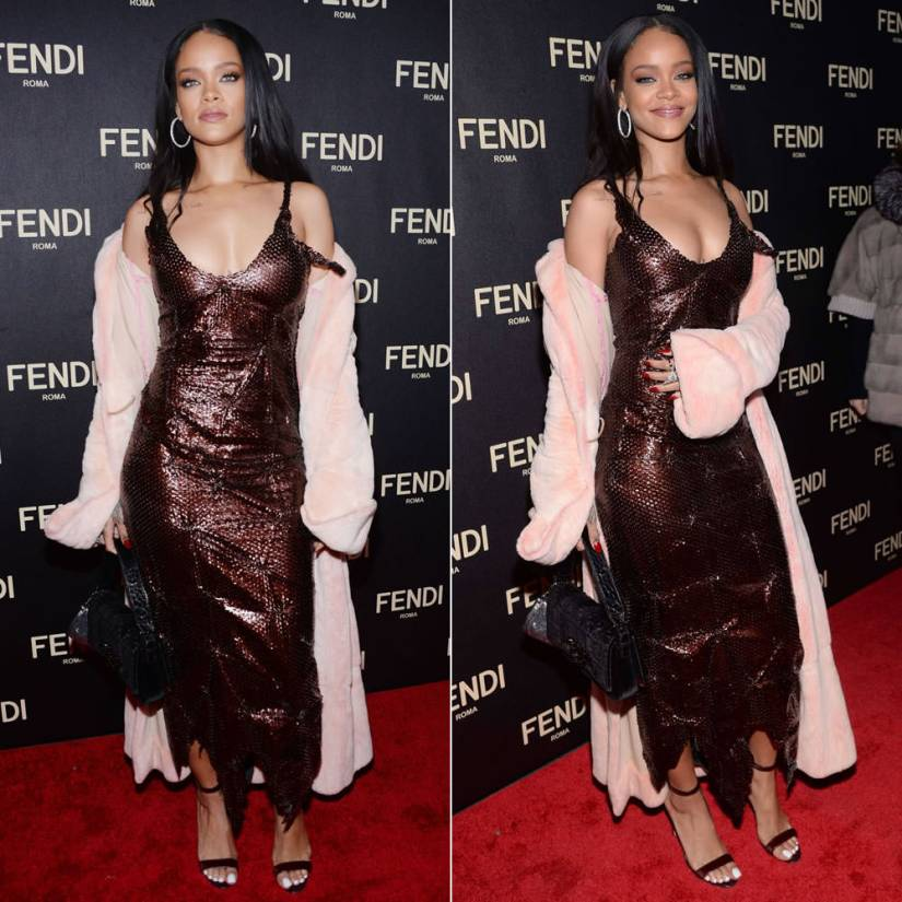 Rihanna at Fendi Madison flapship store opening wearing vintage Fendi pink chinchilla fur coat and bronze leather dress with Manolo Blahnik Chaos sandals