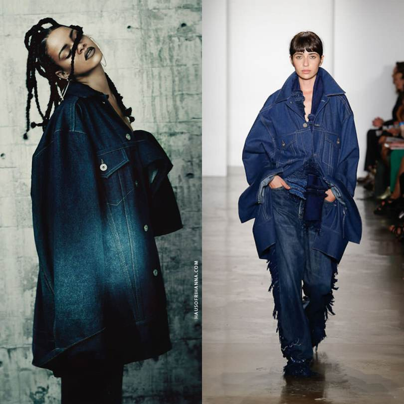 Rihanna wearing Matthew Dolan Spring/Summer 2015 denim jacket and jeans in i-D magazine music issue