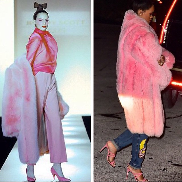 Rihanna wearing Jeremy Scott Fall/Winter 1999 bubble gum pink fur coat