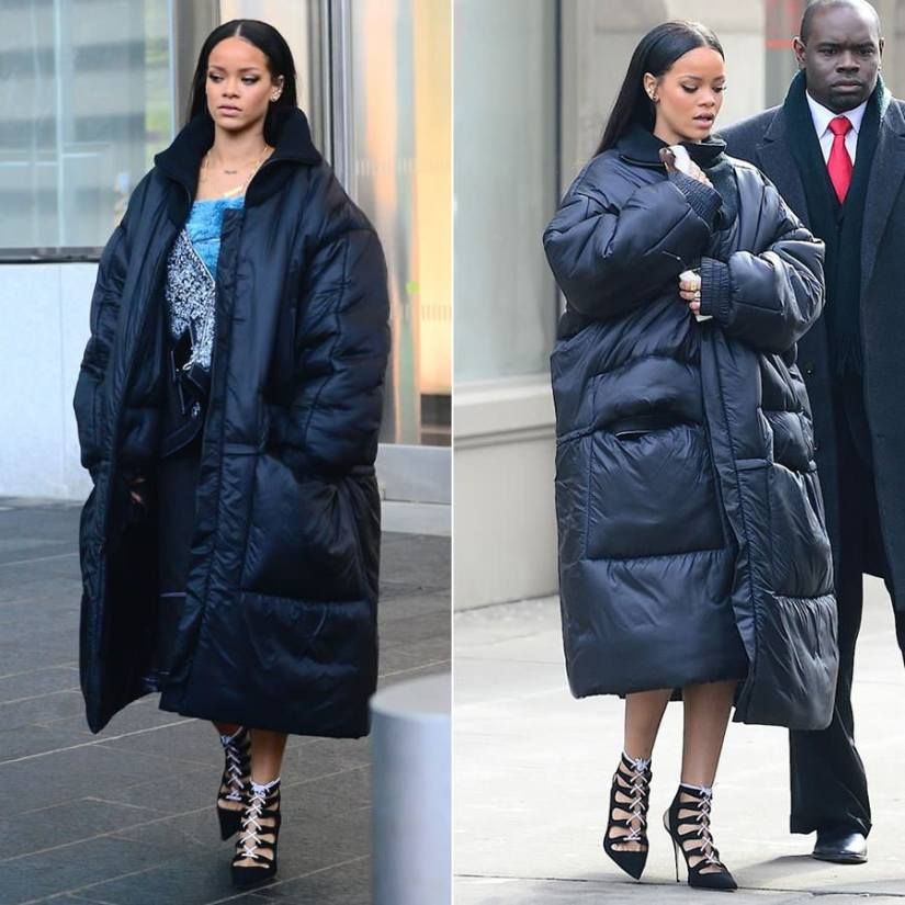Rihanna wearing Jessica Walsh oversized down coat with ribbed wool collar from Parson's MFA Spring 2015 collection, Manolo Blahnik lace-up pumps