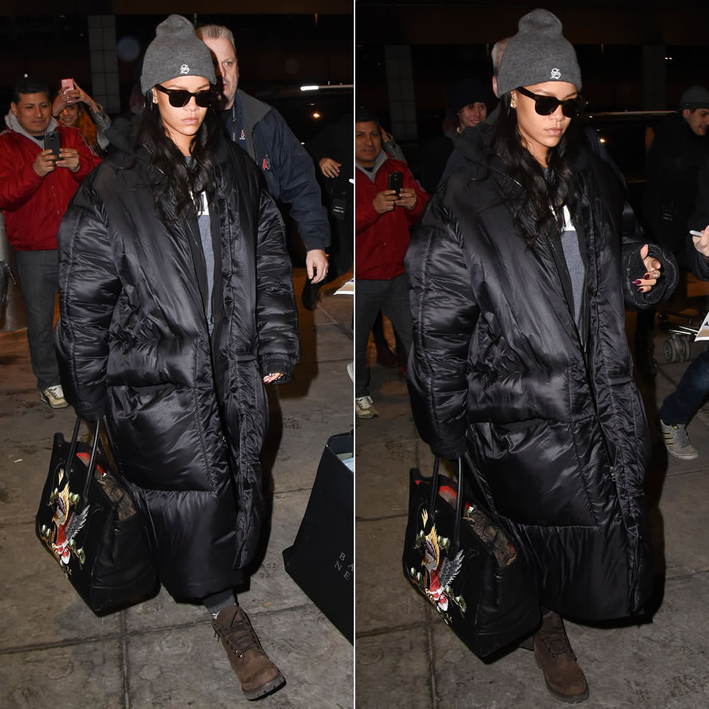 Rihanna In Jessica Walsh Coat  Sub_Urban Riot Kale Top