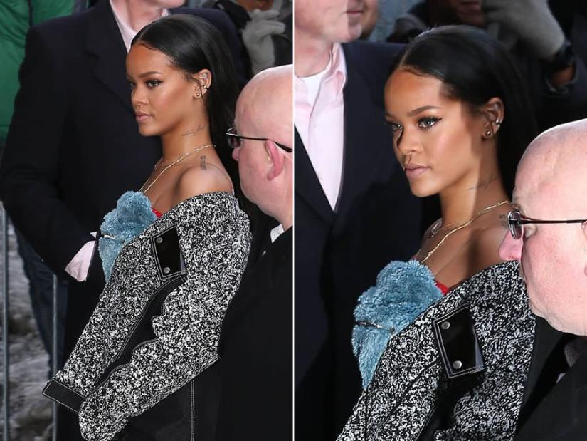 Rihanna at Kanye West x adidas fashion show wearing Julia Seemann for VFILES Fall 2015