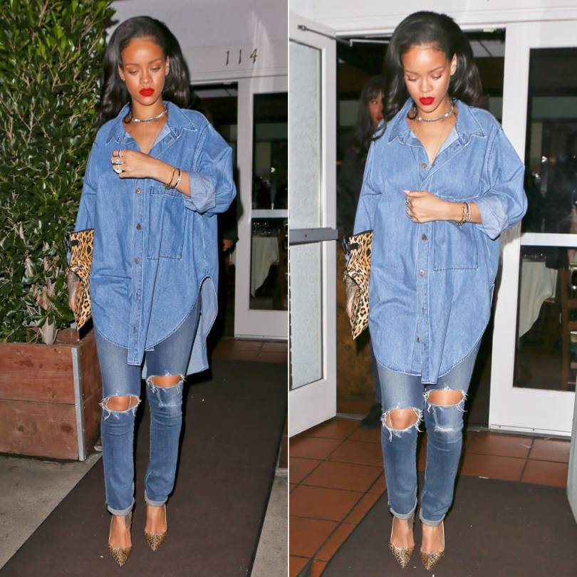 Rihanna wearing Citizens of Humanity Premium Vintage Arley jeans in Ramone and Christian Louboutin So Kate Brocart brocade pumps