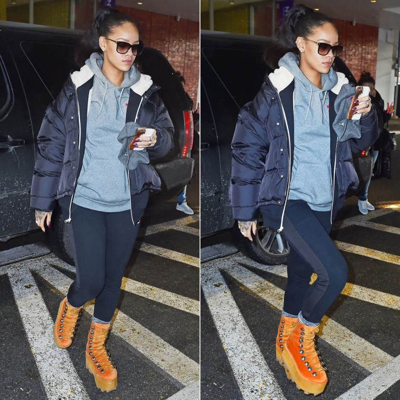 Rihanna wearing Maison Margiela padded jacket, Puma Sherpa shearling-lined hoodie, Puma x ALIFE Arc pullover hoodie, Alexander Wang Fall 2015 platform boots, Lynn Ban rings, Sheriff and Cherry black and gold sunglasses
