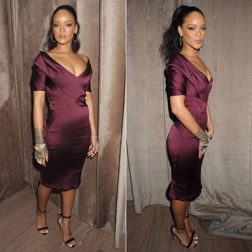 Rihanna wearing custom Zac Posen purple dress, Manolo Blahnik Chaos sandals, Suzanne Kalan hoop earrings, Casa Reale diamond bracelet, Lynn Ban rings