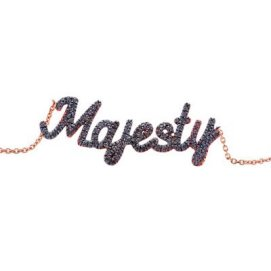 Thea Jewelry rose gold and black diamond Majesty necklace as seen on Rihanna